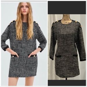 Zara black white long sleeve mod shift dress S